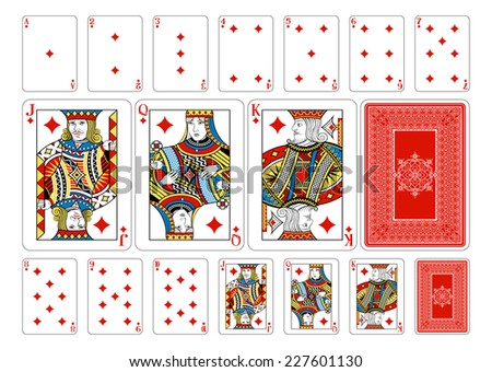 Poker size Diamond playing cards plus playing card back. New original playing card deck design. Symbol worked  into Jack, Queen and King. Reverse of deck features pattern with interwoven symbols.  - stock vector