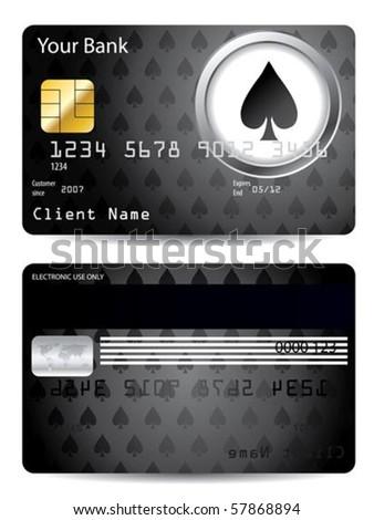 Poker spade credit card design - stock vector