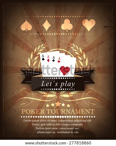 Poker tournament background with playing cards, ribbon and ornate swirls in retro style/vector illustration for your poker poster, tournament or banner - stock vector