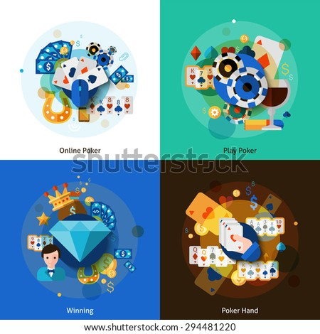 Poker with online playing winning and hand icons set flat isolated vector illustration  - stock vector