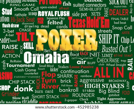 Poker Word Cloud with Industry Vernacular, Seamless, over Green. Vector EPS-10 file, transparency used.