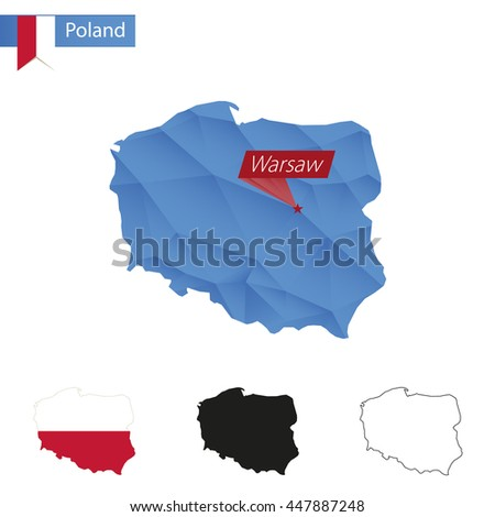 Poland blue Low Poly map with capital Warsaw, versions with flag, black and outline. Vector Illustration. - stock vector