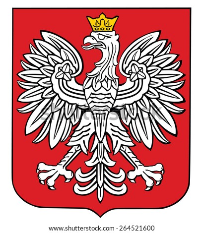 Poland coat of arms, seal, national emblem, isolated on white background. Vector Coat of arms of poland, Original and simple Poland coat of arms in official colors and Proportion Correctly.   - stock vector