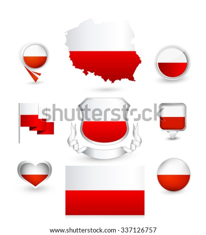 Poland Flag Collection. Vector icon set.