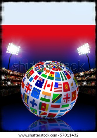 Poland Flag with Globe on Stadium Background Original Illustration