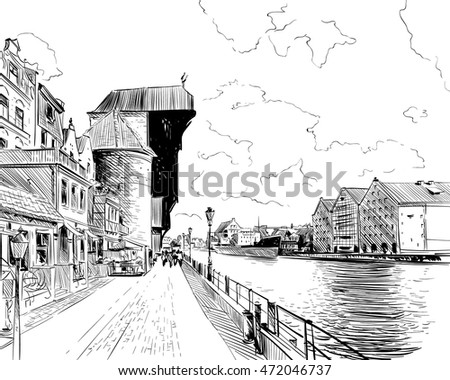 Poland. Gdansk. Motlawa river and The Crane. Hand drawn sketch. Vector illustration