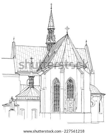 Poland. Krakow. Church. Vector sketch - stock vector