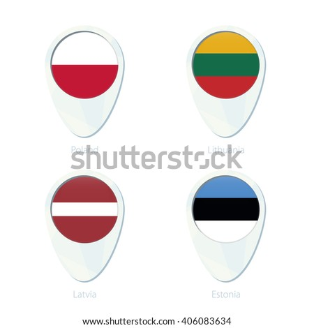 Poland, Lithuania, Latvia, Estonia flag location map pin icon. Poland Flag, Lithuania Flag, Latvia Flag, Estonia Flag. Vector Illustration. - stock vector