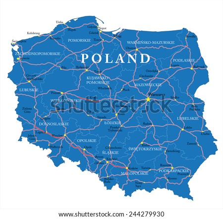 Poland map - stock vector