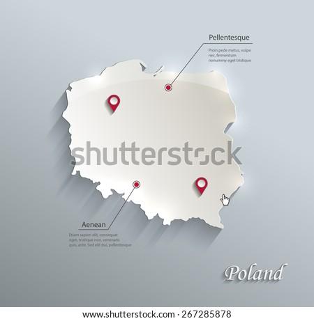 Poland map blue white card paper 3D vector - stock vector