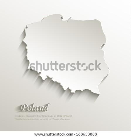Poland map card paper 3D natural vector - stock vector