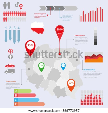 Poland map illustration and infographics design template. Vector illustration