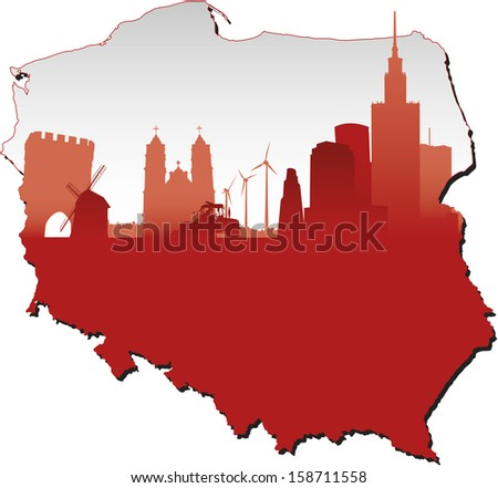 Poland map in flag colors and symbols of business and history of state - stock vector
