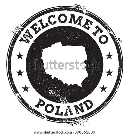 Poland map stamp. Vintage passport welcome stamp with Poland map. Grunge rubber stamp with Welcome to Poland text. Vector illustration. - stock vector