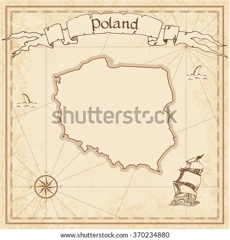 Poland old treasure map. Sepia engraved template of Poland treasure map. Stylized Poland treasure map on vintage torn paper. - stock vector