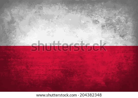 Poland, Polish Flag  on concrete textured background - stock vector