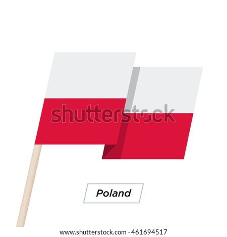 Poland Ribbon Waving Flag Isolated on White. Vector Illustration. Poland Flag with Sharp Corners