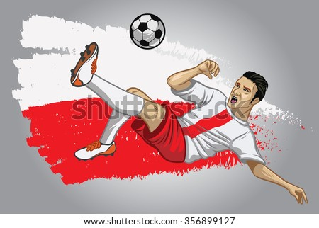 Poland soccer player with flag as a background