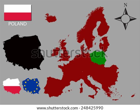 Poland - Three contours, Map of Europe and flag vector