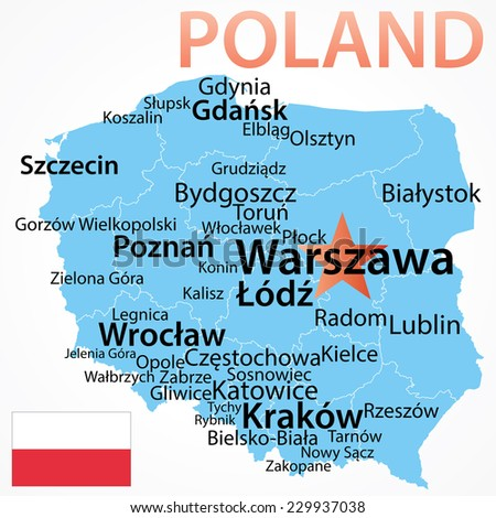 Poland - vector map with largest cities, text scaled by city population, geographically correct.
