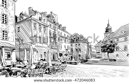 Poland. Warsaw. Palace Square hand drawn sketch. Unusual perspective. City vector illustration