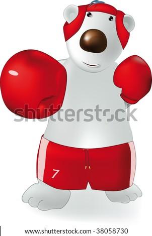 polar bear and boxing - stock vector
