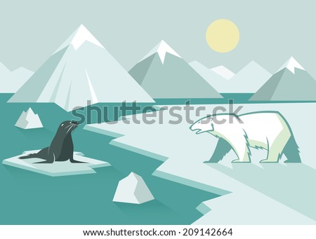 Polar bear and seal - flat design - vector illustration - stock vector