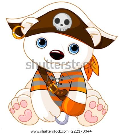 Polar Bear dressed-up like pirate for Halloween - stock vector