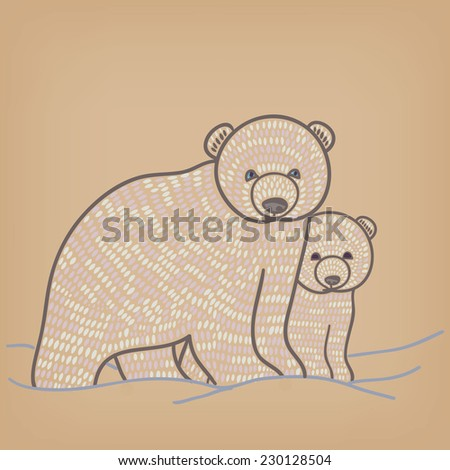 polar bear family - stock vector