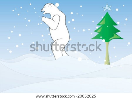 Polar bear is walking on the snow