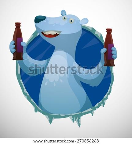 Polar bear label with drinks, vector - stock vector