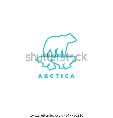 Polar bear line logo. Vector illustration of bear on ice. Global warming logo. Ecology problem. Polar bear logo. Bear logo. Arctic logo. Bear line logo. Cold line logo. Bear and ice line logo - stock vector