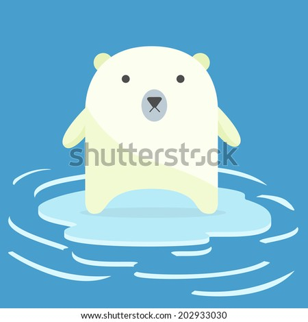 Polar bear on an ice floe. concept of global warming. - stock vector