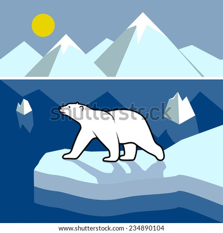 Polar bear on an ice floe, polar landscape. - stock vector