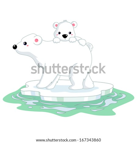 Polar bear on ice - stock vector