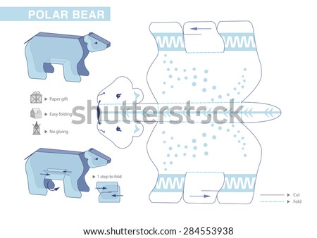 Polar Bear Paper Model. Cut-outs for children. Small home craft project or printable paper gift and decoration. Fold without gluing. Vector template. - stock vector