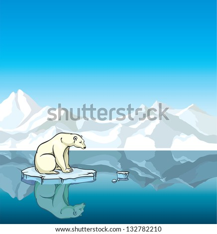 Polar bear sitting on a melting ice in a sea. Global warming. - stock vector