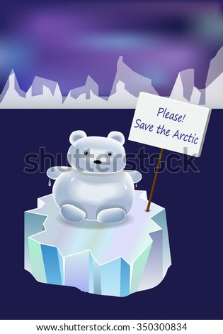 polar bear - snowman on an ice floe - stock vector