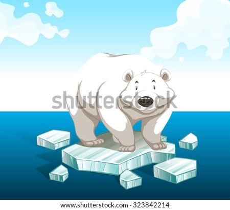 Polar bear standing on iceberg illustration - stock vector
