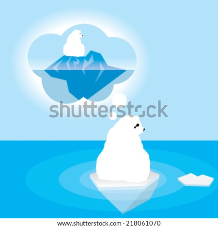 Polar bear thinking - stock vector