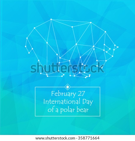 Polar bear. Vector. Background triangles