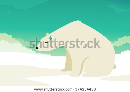 Polar Bear vector illustration: climate change - stock vector