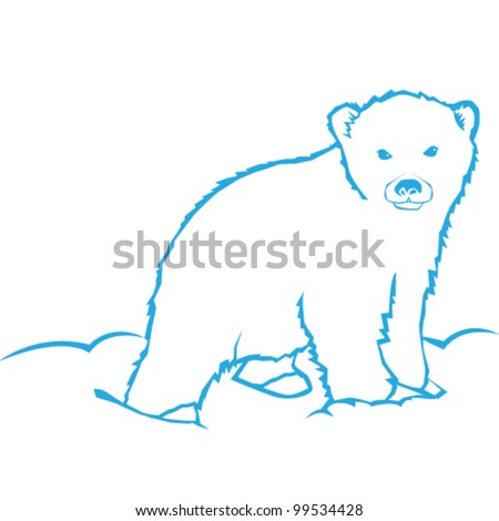 Polar Bear Vector Line Art Illustration - stock vector