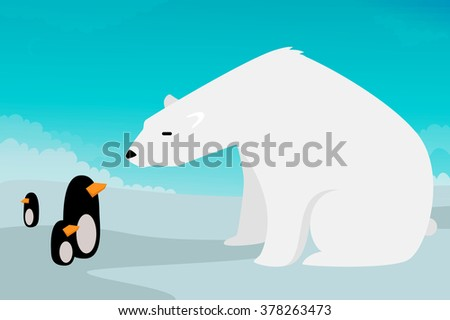 Polar bear vs Penguins vector illustration