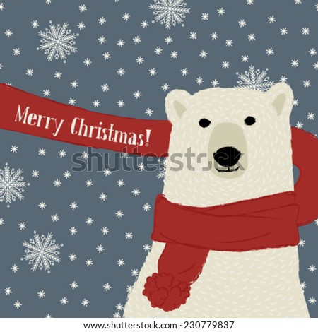 Polar bear wishes Merry Christmas, expanded snowflake pattern in the background