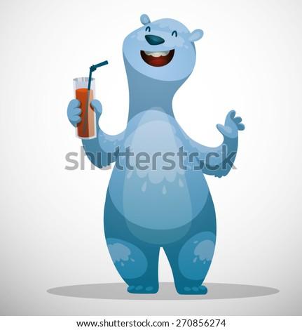 Polar bear with glass of juice, vector - stock vector