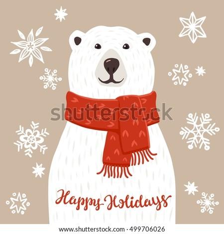 polar bear happy holidays inscription winter stock vector. Black Bedroom Furniture Sets. Home Design Ideas