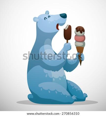 Polar bear with ice cream, vector - stock vector