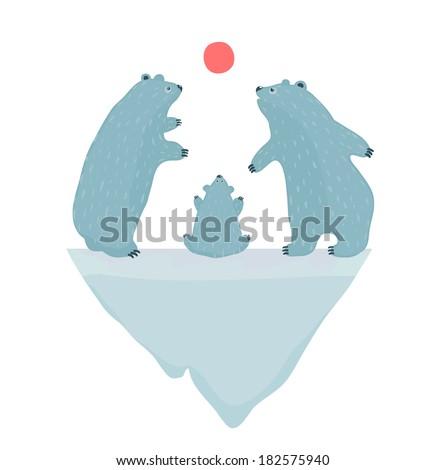 Polar Bears Watching the Sunset. Three white bears and iceberg. Vector illustration EPS8. - stock vector