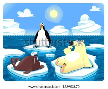 Polar scene. Vector and cartoon illustration - stock vector